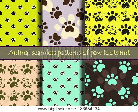 Vector colour  illustrationsith animal footprints. Vector seamless pattern set with cat or dog footprints. Can be used for wallpaper, web page background, surface textures, cards and posters