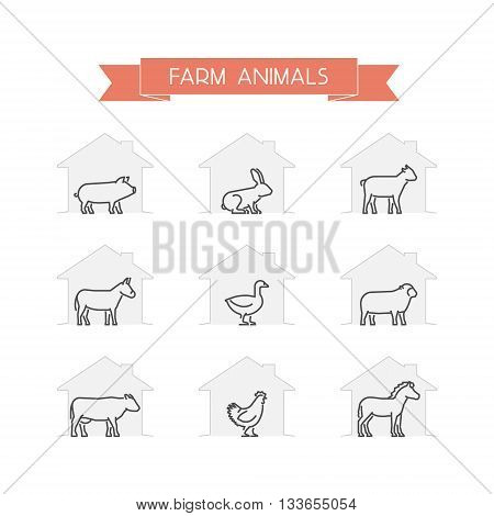 Line set of farm animals. Vector outline silhouettes horse cow pig rabbit and goat isolated on white. Open path.