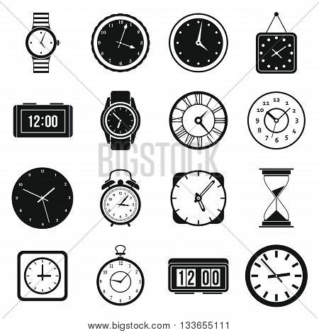 Time and Clock icons set in simple style for any design
