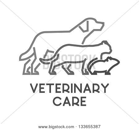 Line vector symbol for veterinary care with open path. Outline dog cat and mouse. Modern logo veterinary clinic on white background.