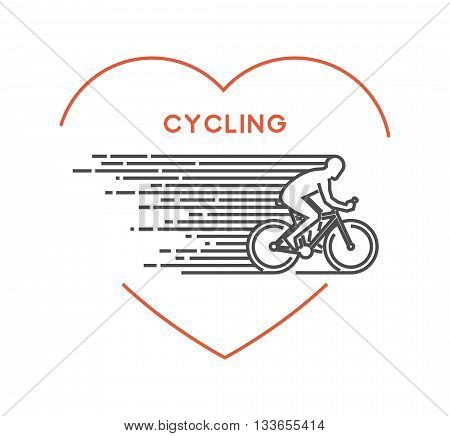 Line vector symbol for cycling with open path. I love cycling. Outline figure cyclist. Stylish logo cycling on white background.