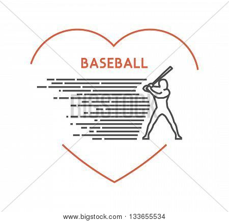 Line vector symbol for baseball with open path. I love baseball. Outline figure baseball player. Stylish logo baseball on white background.