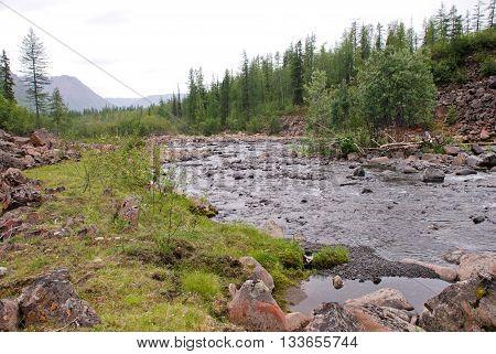 River Bucharama into lake Lama. The Putorana plateau Taimyr Peninsula Russia.