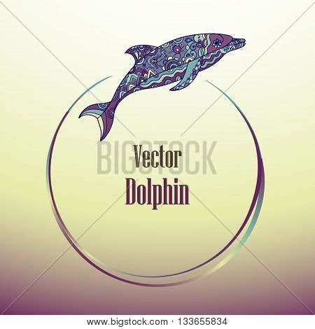 Vector hand drawn dolphin doodle illustrations. Ethnic tribal design. Round frame with dolphin for your design.