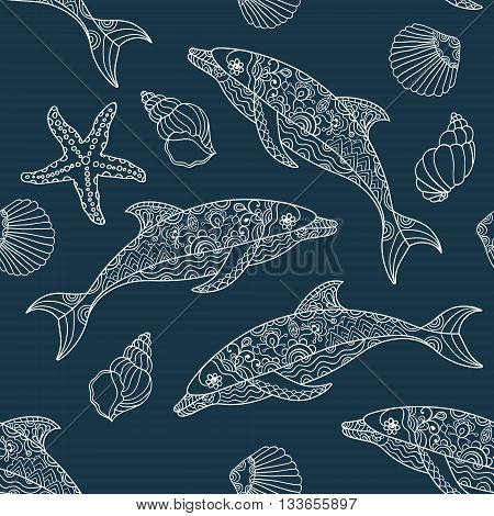 Vector seamless dolphin pattern with hand drawn dolphin doodle illustrations. Modern design.