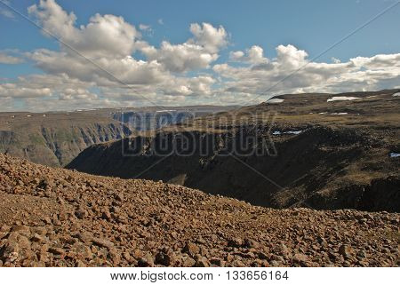 The Putorana Plateau. Plains gorges and cliffs