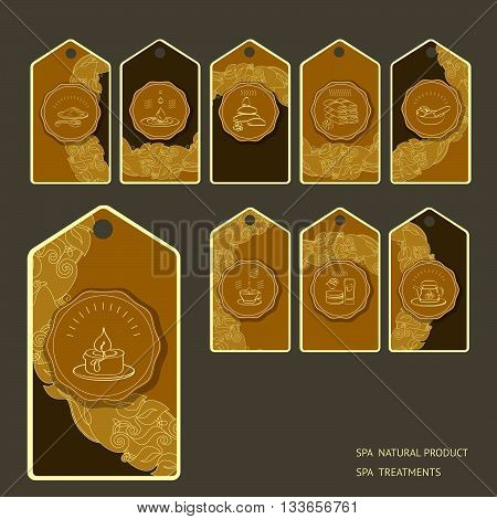 Vector set spa themed tags with vintage design element and signs oil, stone, candle, mask, tea, towel, cup, mortar and pestle on dark background.