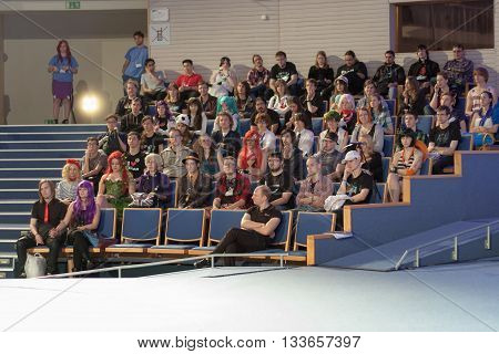 Auditorium Of Young People In Lecture Hall Listens Talks