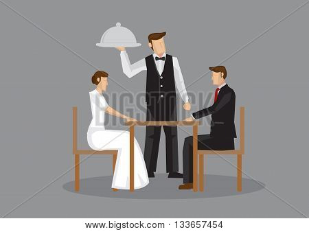 Cartoon man and woman in formal attire sitting at table and waiter with serving tray at the side. Vector illustration of a romantic dinner date isolated on grey background.