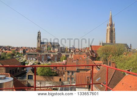 Pearl of architecture and gastronomic tourism the capital of the Czech Republic. Red brick roofs of Prague.