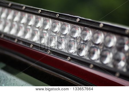 Close up shot of a LED panel on a car.