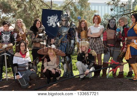 Group Of Cosplayers Poses  At Animefest, Anime Convention