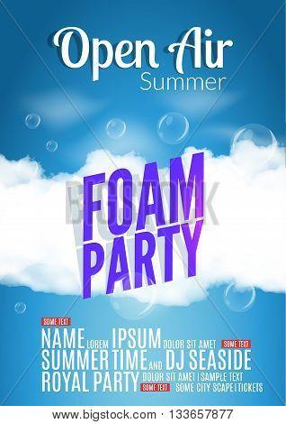 Foam Party summer Open Air. Beach foam party poster or flyer design template.