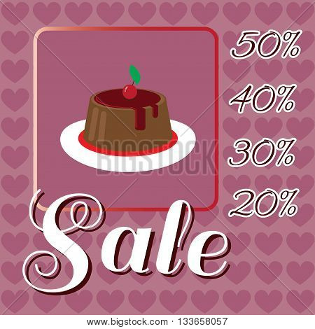 Card with a cream cake with red cherry on top over a background with hearts in pink outline style with sale text. Digital vector image.