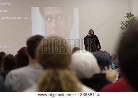 Speaker In Kimono Dress  During Talks About Living In Japan