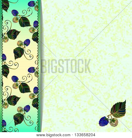 Frame of blue blackberries. Green marble background with blackberries and leaves. For the greeting card, menu, invitation to wedding. Eps 10
