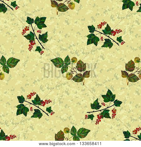 Colored currant and raspberry seamless pattern. Vector pattern on a marble background. Seamless pattern with red hand draw currantberries and yellow raspberries.