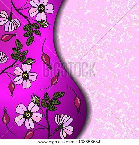 Frame of pink briar flowers with berries.  Pink marble Background with rosehip flowers, berries and leaves. For the greeting card, menu, invitation to wedding. Eps 10
