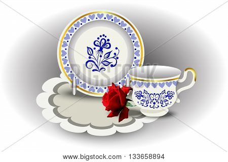 Elegant tea couple cup and plate napkin and rose vector illustration hand drawing.