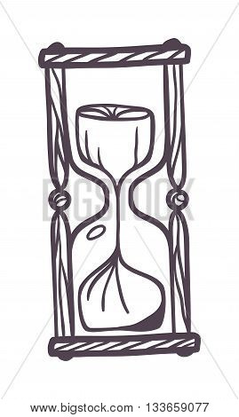Hourglass sandglass vintage symbols and sand glass vintage icons for time concept. Sandglass vintage version and old glass watch minute vector sandglass vintage. Flow instrument measurement.