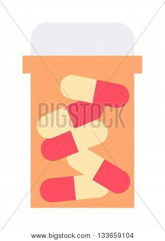 Pills spilling out pill bottle isolated. Pills isolated vector medical tablet and healthy vitamin antibiotic pills isolated. Pills isolated prescription pain care pharmaceutical