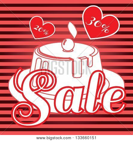 Card with a cream cake with cherry on top over a red background in lines with hearts in outline style with sale text. Digital vector image.