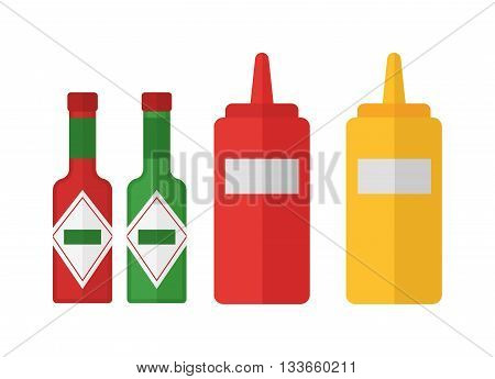 BBQ sauce food and various barbecue sauces in glass bottles. BBQ sauce ingredient and vector BBQ sauce ketchup seasoning spicy ingredient. BBQ sauce red grill hot cooking gourmet spice.