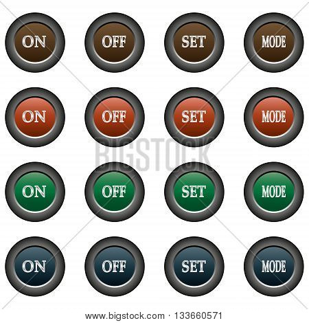 Collection of 16 isolated multicolor buttons (icons) - on button, off button, set button, mode button