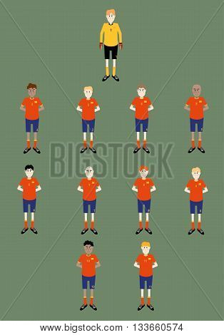 vector illustration of soccer players team line up position on the field pitch