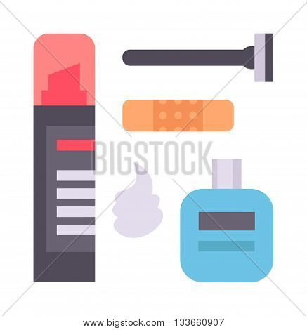 Man facial shaving icons composition with beard moustache and shaving accessories abstract isolated vector illustration. Shaving icons fashion beard shaver hygiene grooming salon symbols.