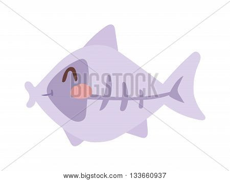Fish floating, water pollution cartoon flat vector. Cartoon fish animal nature food and fish ecology environment. Fish icon isolated on white