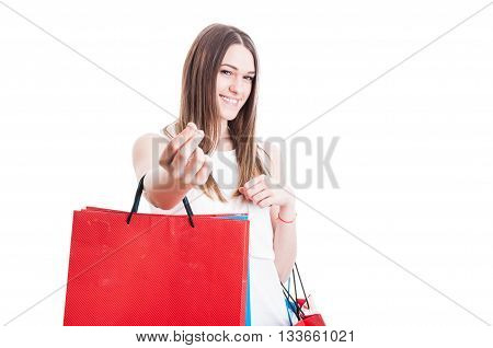 Spending Money Concept With Smiling Shopaholic At Shopping