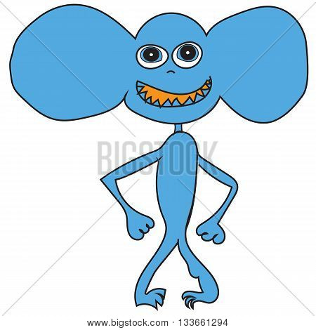 Cute cartoon blue monster with big ears