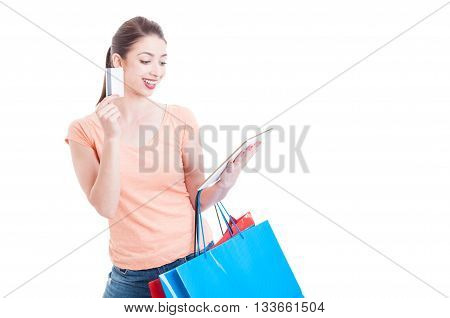 Shopping Woman Smiling With Tablet And Credit Or Debit Card