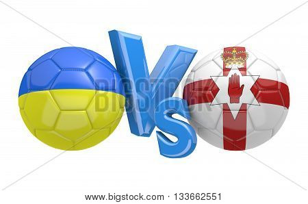 Football competition between national teams Ukraine and Northern Ireland, 3D rendering