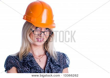 Smiling girl with helmet