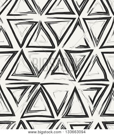 Vector Seamless Pattern. Hand Drawn Abstract Geometric Background With Structure Of Repeating Triang