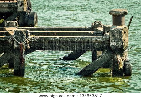 Old pier on chao phraya river, Bangkok, Thailand