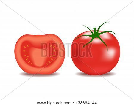 tomato vector , whole tomato and half tomato