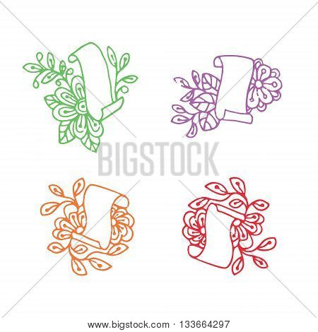 Papyrus roll in doodle style with leaves and flowers. Isolated elements.Vector illustration