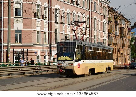 Moscow, Russia - June 03.2016. Tram on Krasnoselsky viaduct at Lower Krasnoselskaya street