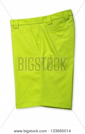 Green short pants trousers on white background
