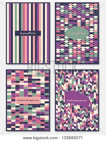 Set of design templates, varicolored leaflets and frames A4 size layout collection of geometric colorful pages for gift card cover book printing fashion presentation.