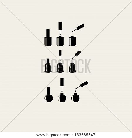 Nail polish icon set. Isolated vector silhouette.
