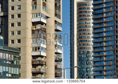 VILNIUS LITHUANIA - OCTOBER 06: New and old buildings of Vilnius on October 06 2015 in Vilnius Lithuania. Vilnius is the capital of Lithuania and its largest city.