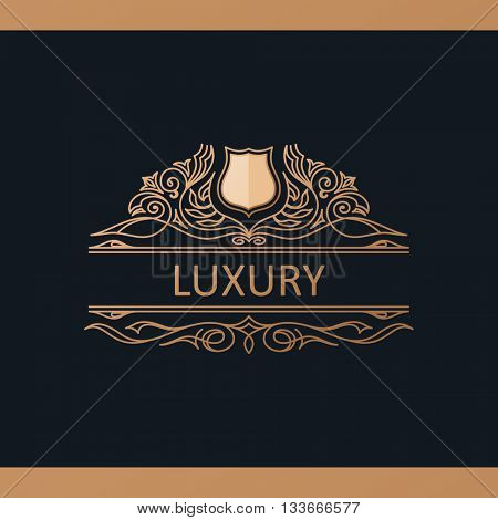 Calligraphic Luxury line emblem. Flourishes calligraphic elegant royal decor design. Gold decor for menu card invitation label, Restaurant, Cafe, Hotel. Vintage line symbol. Raster copy