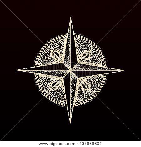 Hand drawn compass wind rose symbol. traveller tool. Vintage illustration. Raster copy