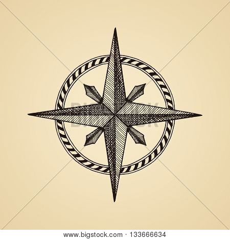 Hand drawn compass wind rose symbol. traveller tool. Vintage illustration. Raster copy
