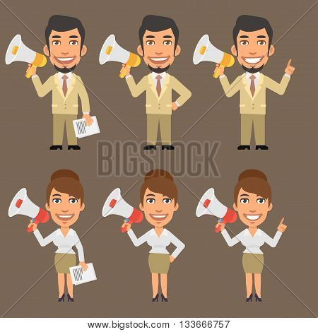 Vector Illustration, Businessman and Businesswoman Holding Megaphone, format EPS 8