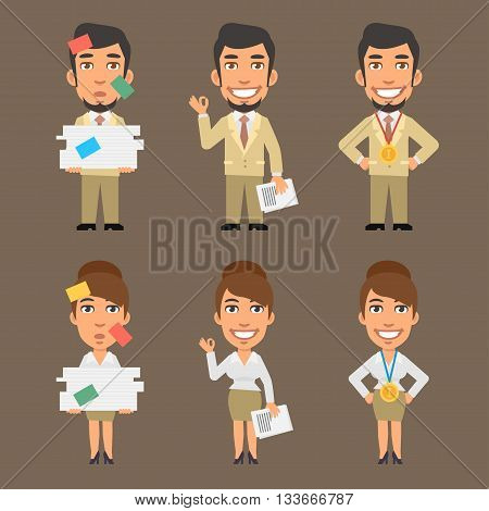 Vector Illustration, Businessman and Businesswoman Holding Paper, format EPS 8